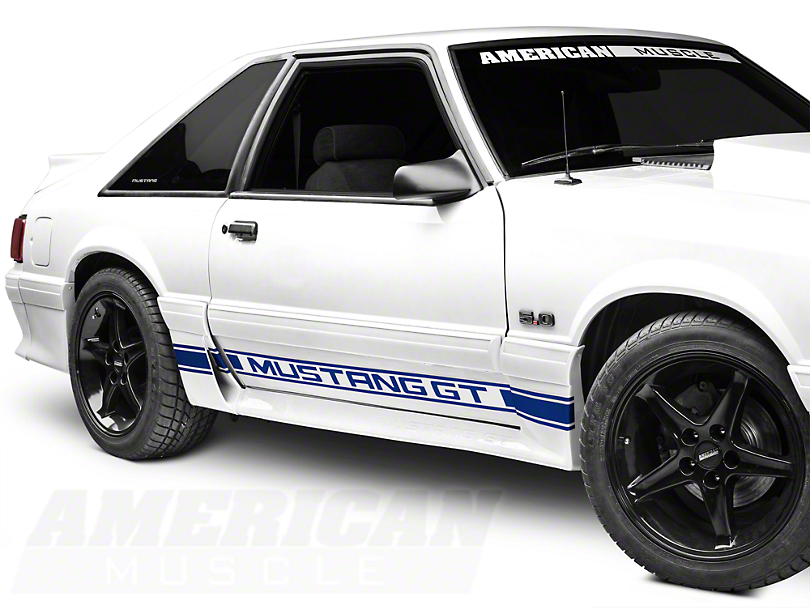 Blue Rocker Stripes w/ Mustang GT Lettering (79-93 All)