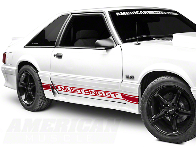 Red Rocker Stripes w/ Mustang GT Lettering (79-93 All)