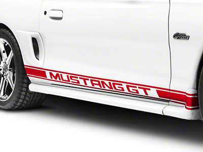 Red Rocker Stripes w/ Mustang GT Lettering (94-04 All)