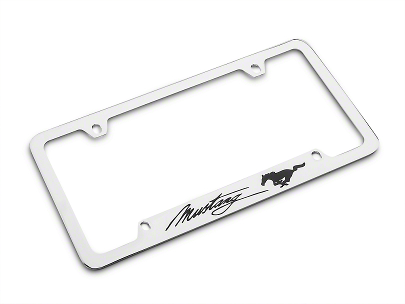 ford license plate frame - black pony w   black mustang script fod1-uf  79-17 all