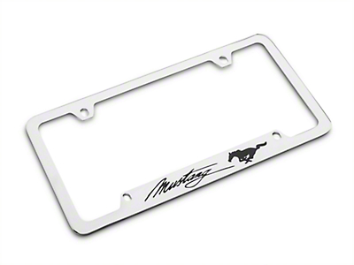 Ford License Plate Frame - Black Pony w/ Black Mustang Script (79-16 All)