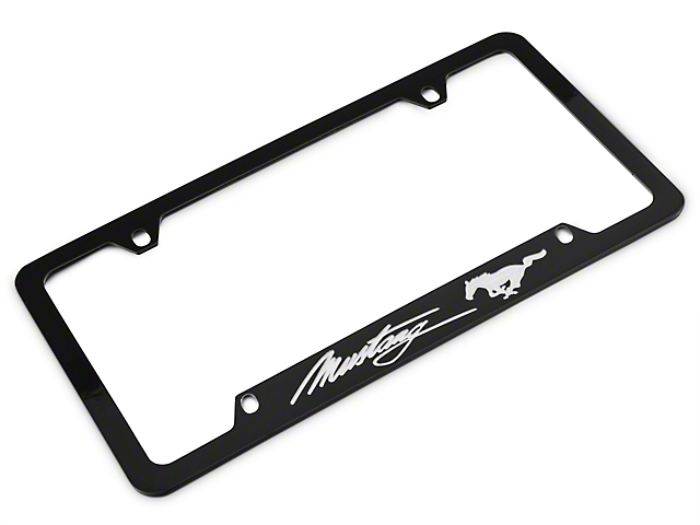 ford license plate frame silver pony w silver mustang script 79 17 all