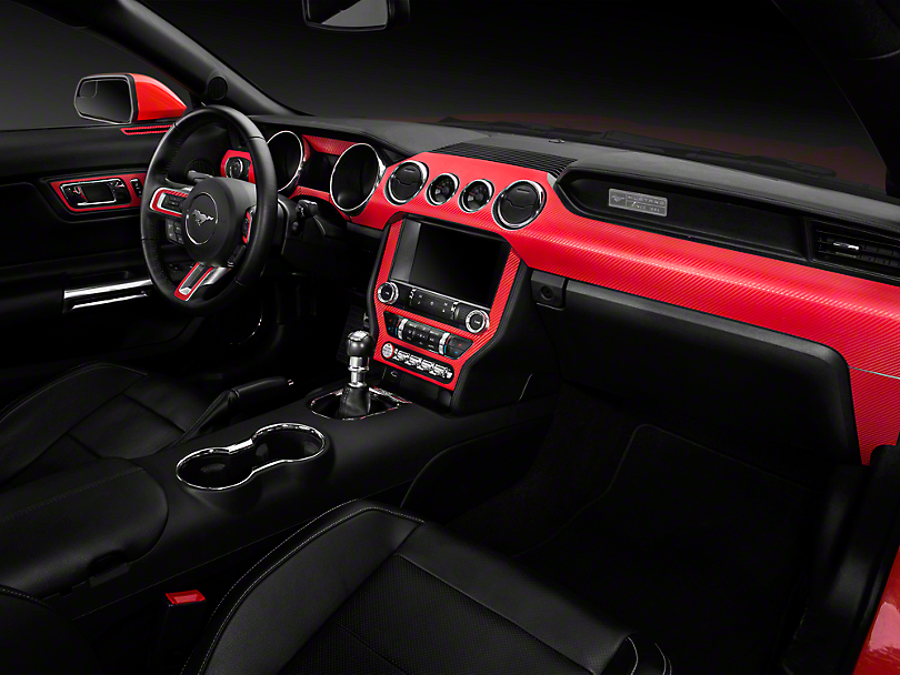 Red Carbon Fiber Mustang Dash Kit 15 17 All Free Shipping