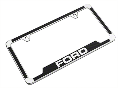 Ford License Plate Frame w/ Carbon Fiber Vinyl Insert (79-17 All)