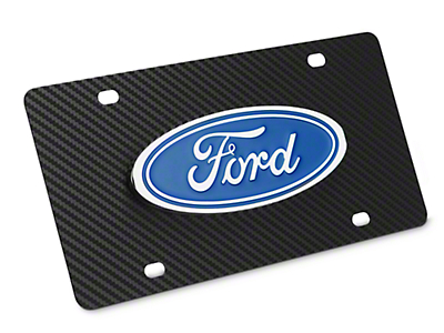 Ford License Plate w/ Carbon Fiber Wrap - Ford Oval (79-16 All)