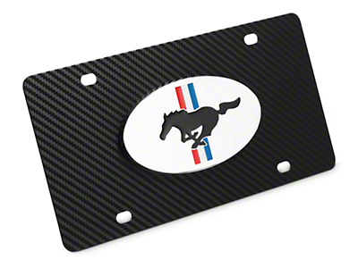 Ford License Plate w/ Carbon Fiber Wrap - Tri-Bar & Running Pony (79-16 All)