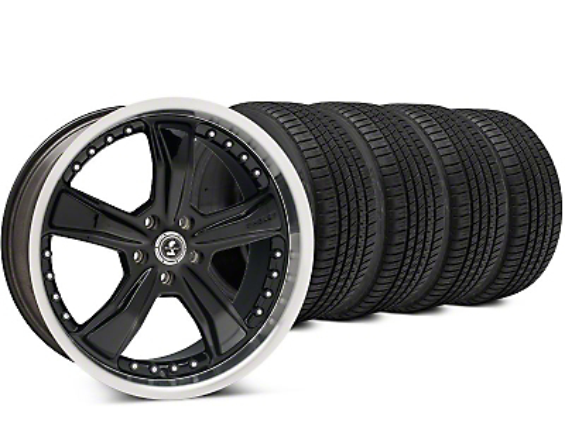 Staggered Shelby Razor Black Wheel & Michelin Pilot Sport A/S 3+ Tire Kit - 20x9/10 (15-17 All)