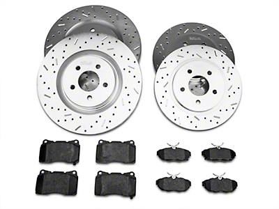 Xtreme Stop Precision Drilled & Slotted Rotor w/ Ceramic Brake Pad Kit - Front & Rear (11-14 GT Brembo; 12-13 Boss; 07-12 GT500)