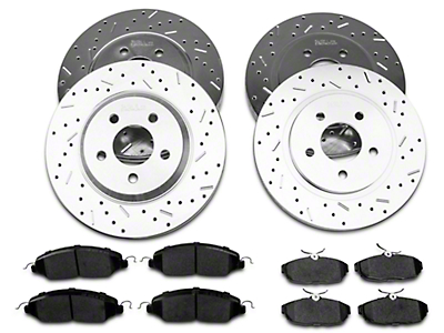 Xtreme Stop Precision Cross Drilled & Slotted Rotor w/ Ceramic Brake Pad Kit - Front & Rear (05-10 GT)