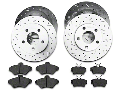 Xtreme Stop Precision Crossed Drilled & Slotted Rotor w/ Ceramic Brake Pad Kit - Front & Rear (94-98 GT, V6)