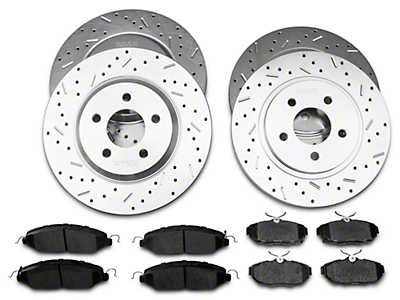 Xtreme Stop Precision Cross-Drilled & Slotted Rotor w/ Carbon Graphite Brake Pad Kit - Front & Rear (11-14 V6)