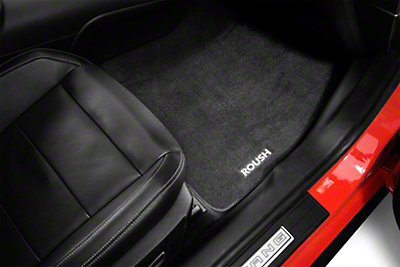 Roush Embroidered Front & Rear Floor Mats - Black (15-17 All)