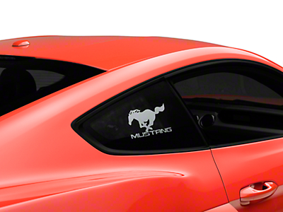 Running Pony Quarter Window Decal w/ Mustang Lettering - Frosted (05-17 All)