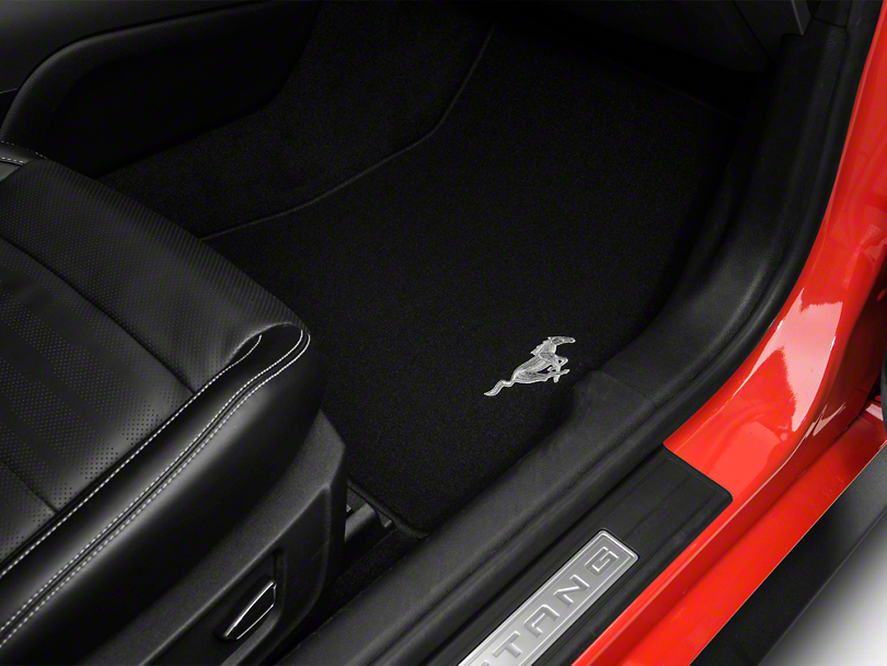 Ford mustang black floor mats w running pony logo front for 03 cobra floor mats