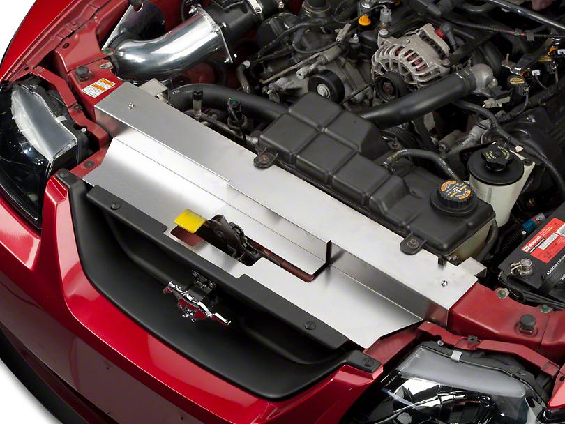 Modern Billet Brushed Stainless Steel Radiator Cover (99-04 GT, V6, Mach 1; 99-01 Cobra)