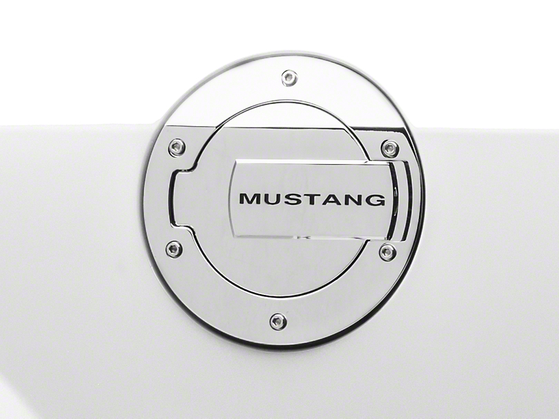 MMD Chrome Billet Aluminum Fuel Door w/ Mustang Lettering (05-09 All)