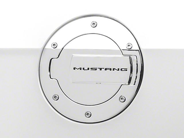 MMD Chrome Billet Aluminum Fuel Door w/ Mustang Lettering (10-14 All)