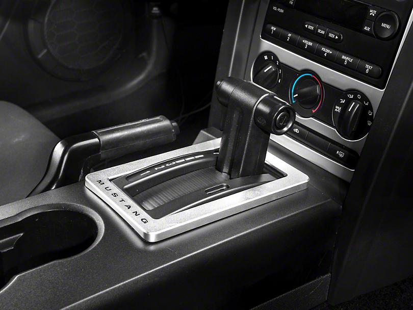 Modern Billet Satin Shifter Bezel - Automatic - Mustang Lettering (05-09 All)