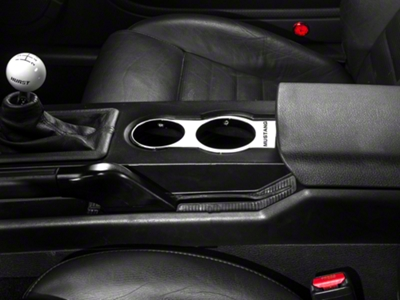 Modern Billet Chrome Cup Holder Bezel - Mustang Lettering (05-09)