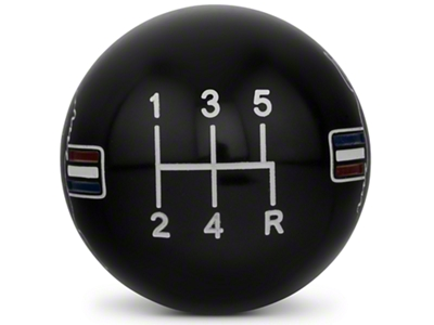 Modern Billet Retro Style 5-Speed Shift Knob w/ Tri-Bar Pony Logo - Black (05-10 All)