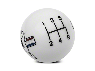 Modern Billet Retro Style 5-Speed Shift Knob w/ Tri-Bar Pony Logo - White (05-10 All)