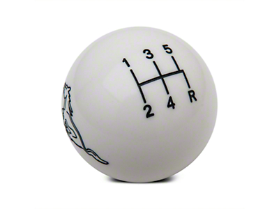 Modern Billet Retro Style 5-Speed Shift Knob w/ Running Pony Logo - White (79-04 All)