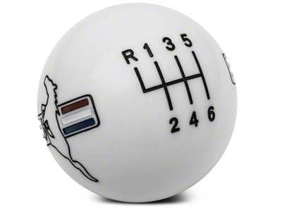 Modern Billet Retro Style 6-Speed Shift Knob w/ Tri-Bar Pony Logo - White (11-14 GT, V6; 11-12 GT500)