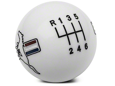Modern Billet Retro Style 6-Speed Shift Knob w/ Tri-Bar Pony Logo - White (11-14 All)