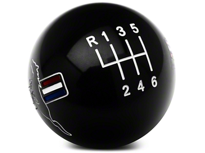 Modern Billet Retro Style 6-Speed Shift Knob w/ Tri-Bar Pony Logo - Black (11-14 GT, V6; 11-12 GT500)