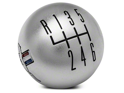 Modern Billet Retro 6-Speed Shift Knob w/ Tri-Bar Logo - Satin (11-14 GT, V6; 11-12 GT500)