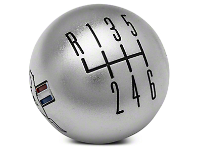 Modern Billet Retro 6-Speed Shift Knob w/ Tri-Bar Logo - Satin (11-14 All)