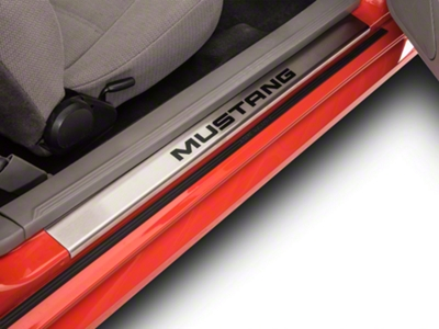 Modern Billet Brushed Door Sill Plates w/ Mustang Lettering (94-04)