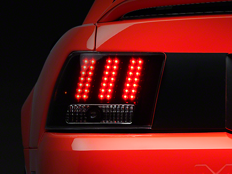 Black 3-Light LED Tail Lights (99-04 GT, V6, Mach 1)