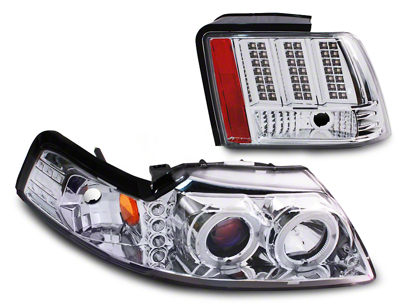 Chrome Projector LED Headlight and LED Tail Light Combo (99-04 GT, V6, Mach 1)