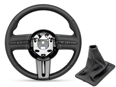 Ford Racing GT500 Steering Wheel and Shift Boot - Black Stitching (05-09 All)