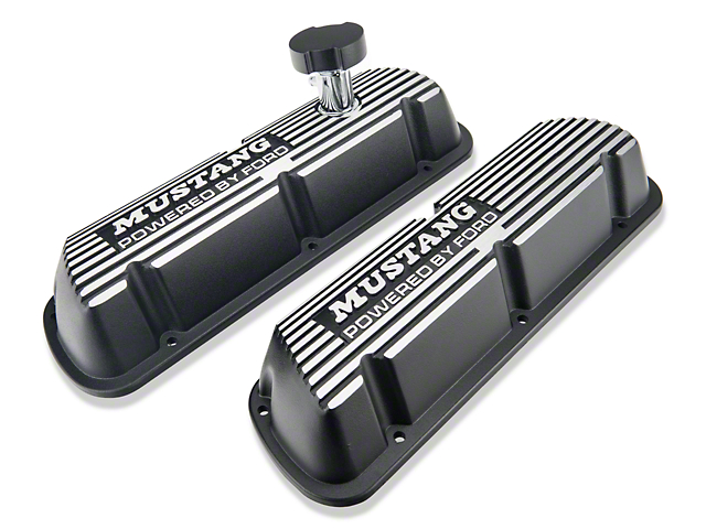 Ford Racing Black Valve Covers w/ Mustang Logo (86-93 5.0L)