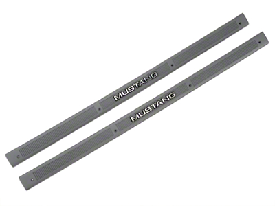 Smoke Gray Door Sill Plates - Mustang Lettering (87-89 All)