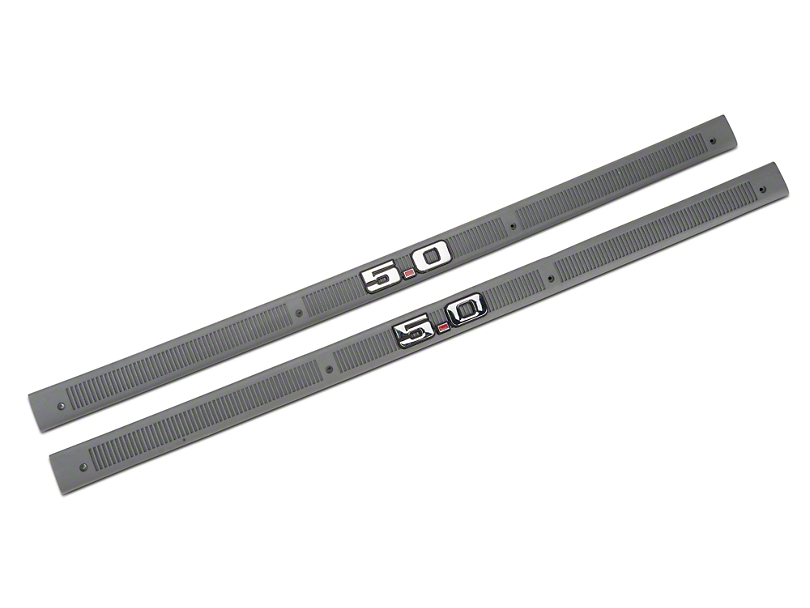 Smoke Gray Door Sill Plates - 5.0 Emblem (87-89 All)