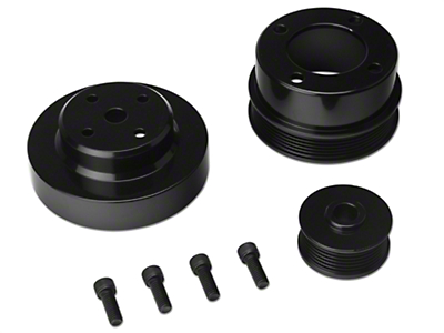 SR Performance Underdrive Pulleys - Black Aluminum (86-93 5.0L)