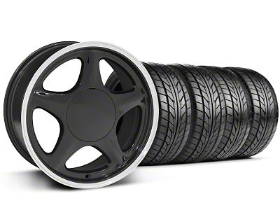 Pony Black w/ Machined Lip Wheel & NITTO Tire Kit - 17x8 (87-93; Excludes 93 Cobra)
