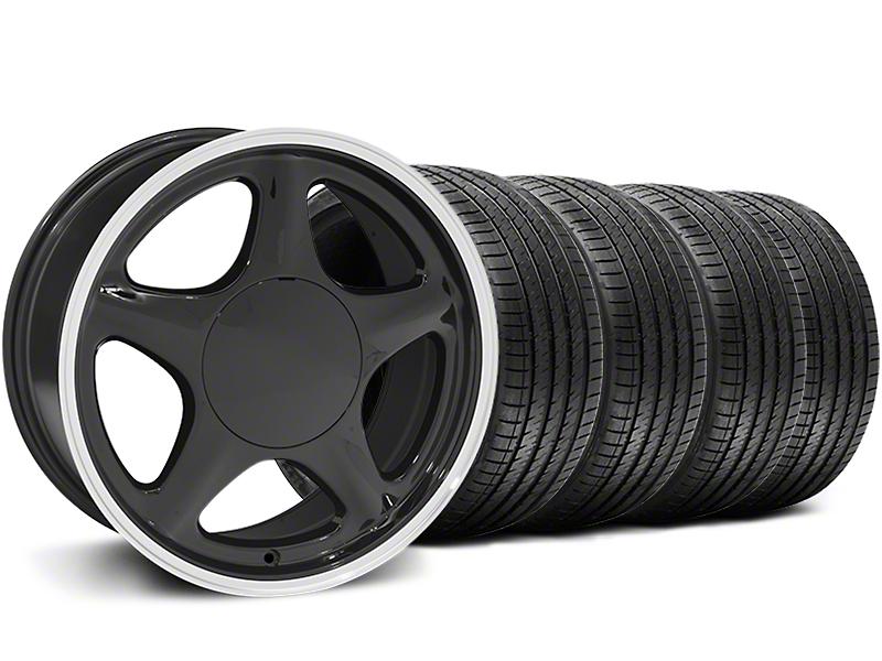 Pony Black w/ Machined Lip Wheel & Sumitomo Tire Kit - 17x8 (87-93; Excludes 93 Cobra)