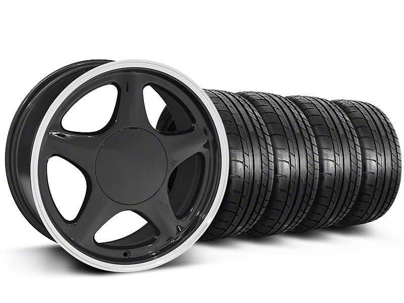 Pony Black w/ Machined Lip Wheel & Mickey Thompson Tire Kit - 17x9 (87-93; Excludes 93 Cobra)
