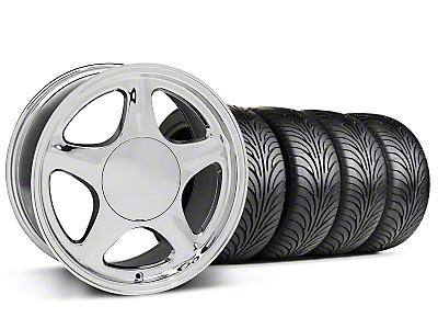 Staggered Pony Chrome Wheel & Sumitomo Tire Kit - 17x8/9 (87-93; Excludes 93 Cobra)