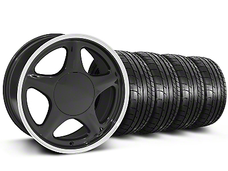 Staggered Pony Black w/ Machined Lip Wheel & Mickey Thompson Tire Kit - 17x8/9 (87-93; Excludes 93 Cobra)