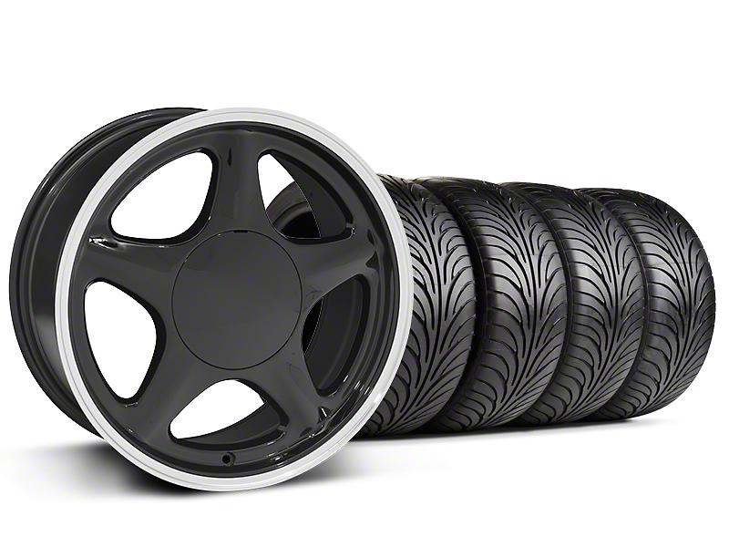 Pony Black w/ Machined Lip Wheel & Sumitomo 5 Lug Tire Kit - 17x9 (87-93; Excludes 93 Cobra)