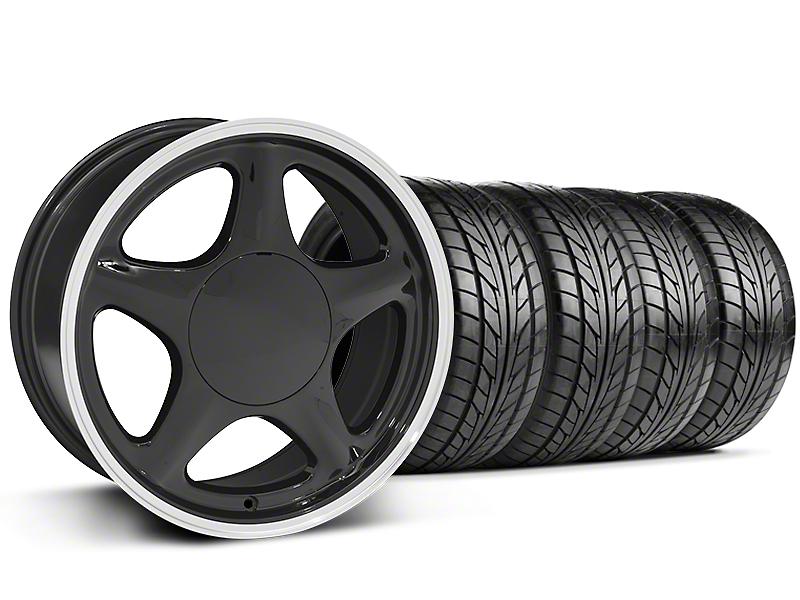 Pony Black w/ Machined Lip Wheel & NITTO 5 Lug Tire Kit - 17x9 (87-93; Excludes 93 Cobra)