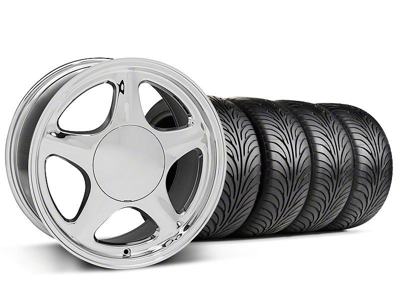 Pony Chrome Wheel & Sumitomo 5 Lug Tire Kit - 17x9 (87-93; Excludes 93 Cobra)