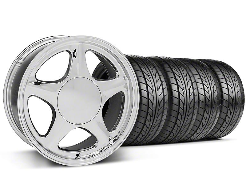 Pony Chrome Wheel & NITTO 5 Lug Tire Kit - 17x9 (87-93; Excludes 93 Cobra)