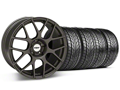 Staggered TSW Nurburingring Matte Gunmetal Wheel & NITTO Tire Kit - 18x8/9 (05-14)