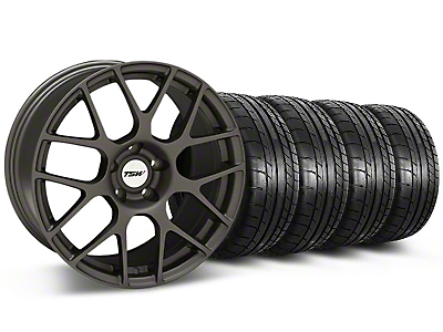 Staggered TSW Nurburingring Matte Gunmetal Wheel & Mickey Thompson Tire Kit - 18x8/9 (05-14)